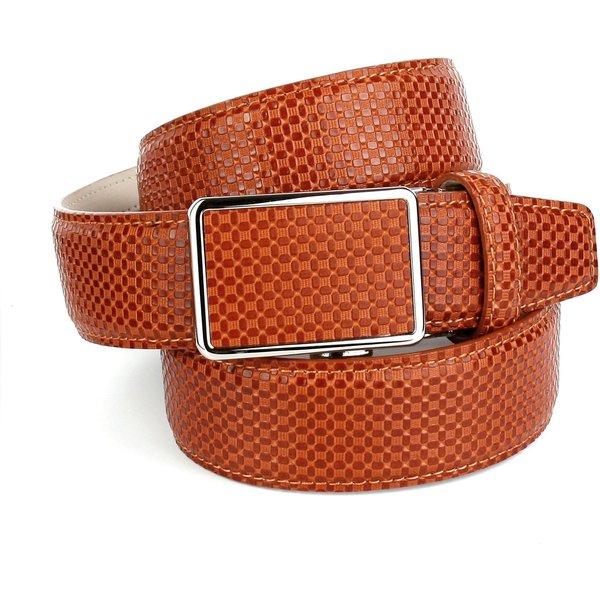 Anthoni Crown Ledergürtel mit Kreuzmuster in Orange