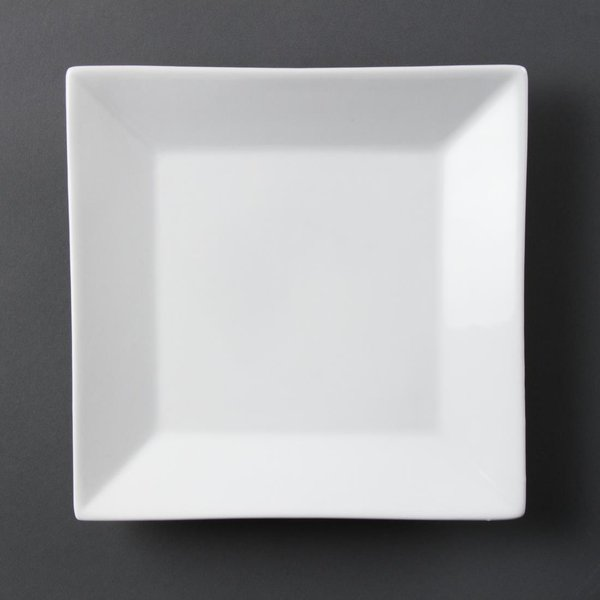 Olympia Whiteware Square Plates Wide Rim 250mm Pack of 6