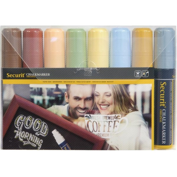 Securit 15mm Liquid Chalk Pens Assorted Earth Colours (Pack of 8) Pack of 8