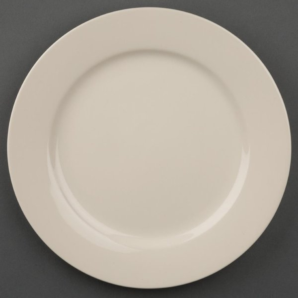 Olympia Ivory Wide Rimmed Plates 230mm Pack of 12
