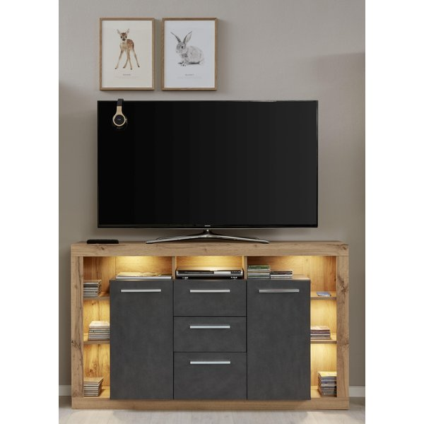 TV-Sideboard Rock in Matera Anthrazit und Wotan Eiche 150 x 90 cm