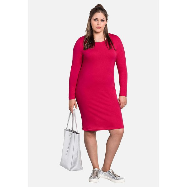 sheego Kleid mit Rundhalsausschnitt Kleider pink Damen Gr. 56
