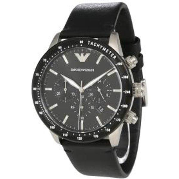 Armani Mario Black Leather Gents Watch AR11243