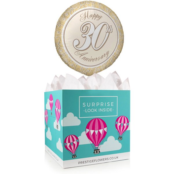Happy 30th Anniversary - Balloon in a Box Gifts - Balloon Gift Delivery - Anniversary Balloons - Anniversary Balloon Gifts