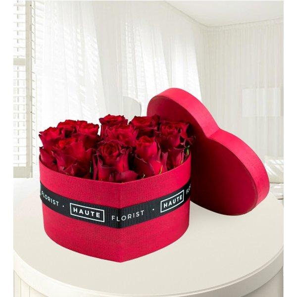 Heart Hat Box - Haute Florist - Red Roses - Luxury Red Roses - Roses in a Hat Box - Luxury Flowers