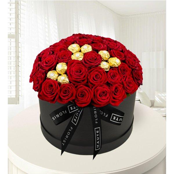 Ferrero Rose Hat Box - Red Roses - Luxury Roses - Luxury Red Roses - Flowers in a Hat Box - Luxury Flowers – Luxury Valentine's Flowers