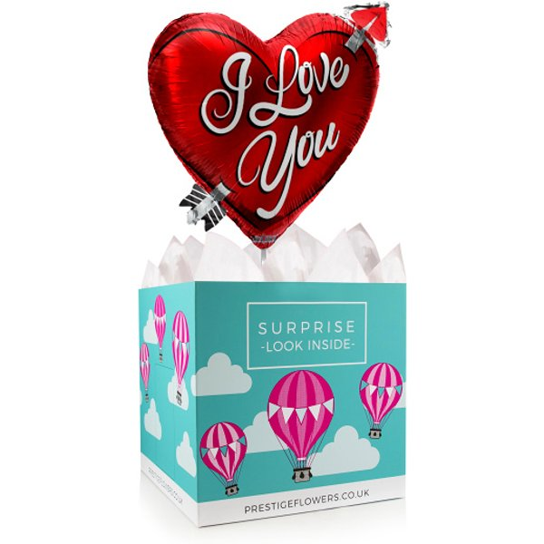 I Love You Balloon Gift - Balloon in a Box Gifts - Anniversary Balloons - Balloon Gifts - Balloon Gift Delivery - I Love You Balloons