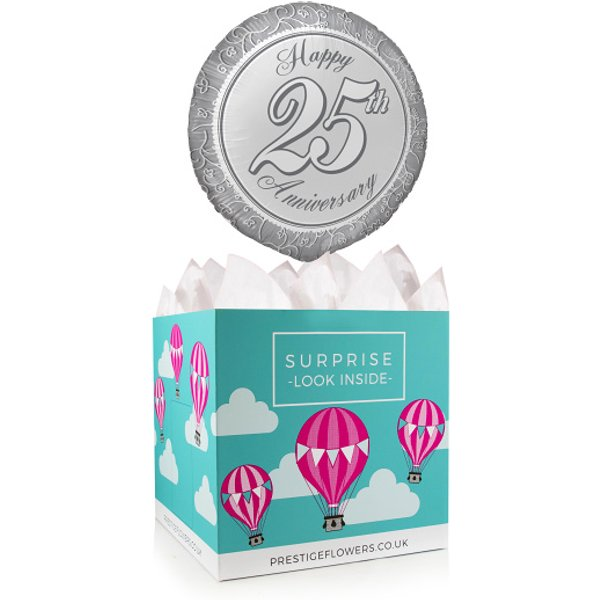 Happy 25th Anniversary - Balloon in a Box Gifts - Anniversary Balloons - 25th Anniversary Balloon Gifts - Balloon Gifts