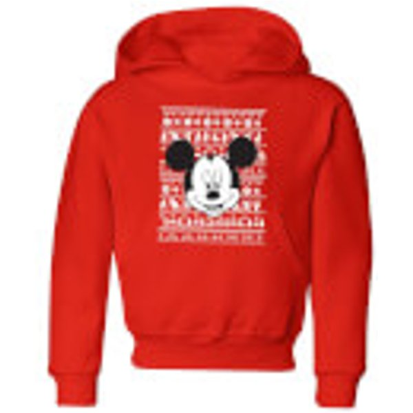 Disney Mickey Face Kids' Christmas Hoodie - Red - 5-6 ans - Rouge