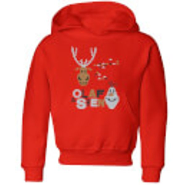 Disney Frozen Olaf and Sven Kids' Christmas Hoodie - Red - 9-10 ans - Rouge