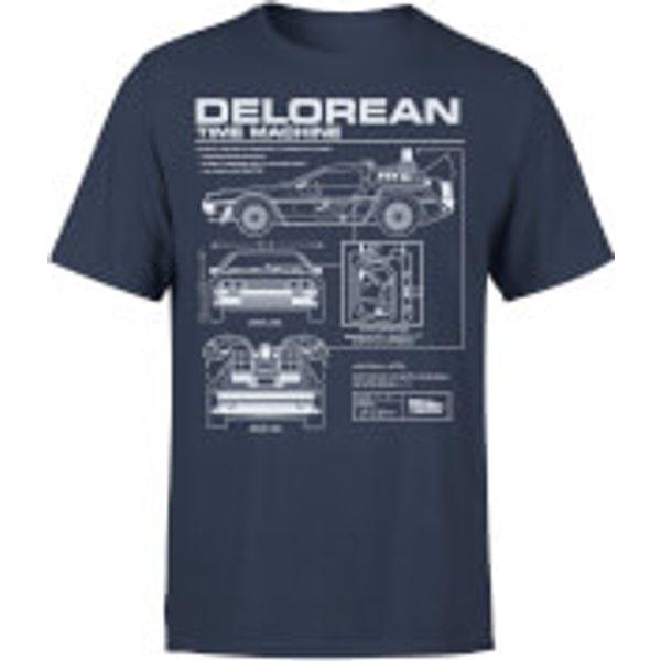 Zurück In Die Zukunft Delorean Schematic T-Shirt - Blau - XL - Marineblau