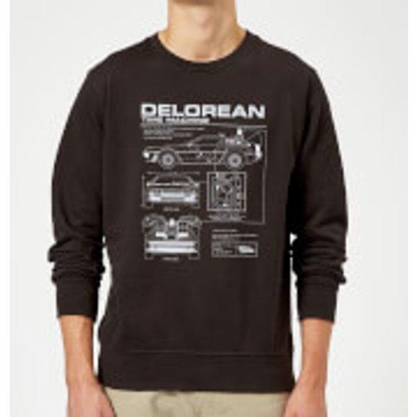 Zurück In Die Zukunft Delorean Schematic Pullover - Schwarz - S - Schwarz