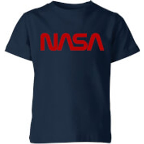 NASA Worm Rot Logotype Kinder T-Shirt - Navy Blau - 11-12 Jahre - Marineblau