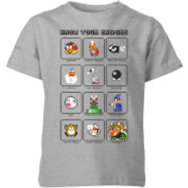 Nintendo Super Mario Know Your Enemies Kid's T-Shirt - Grey - 5-6 Years - Grey