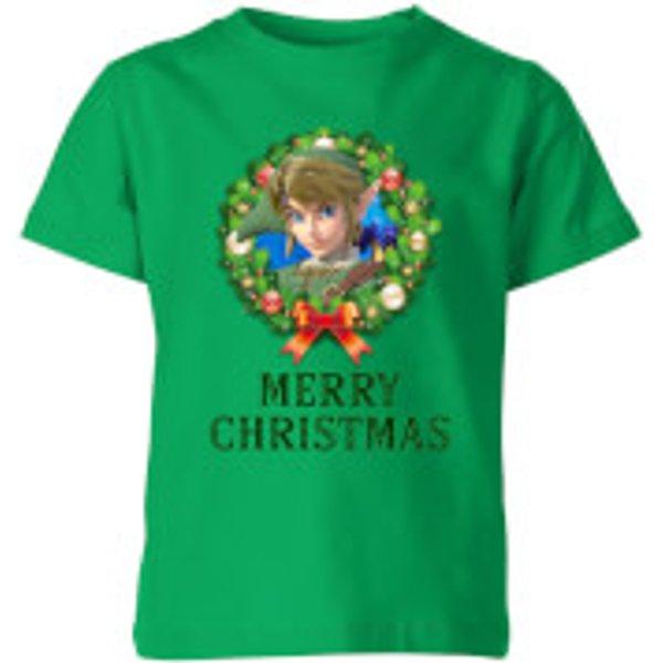 T-Shirt Enfant Joyeux Noël Couronne de Noël - The Legend Of Zelda Nintendo - Vert - 9-10 ans - Kelly Green
