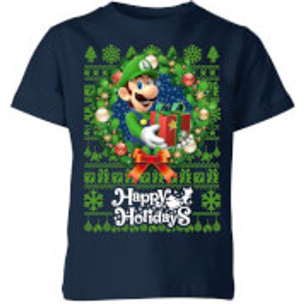T-Shirt de Noël Enfant Nintendo Happy Holidays Luigi - Bleu Marine - 3-4 ans - Navy