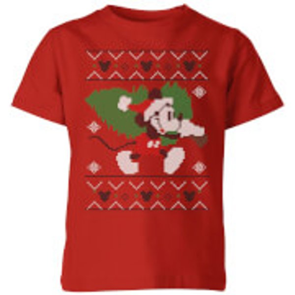 Disney Tree Mickey Kids' Christmas T-Shirt - Red - 9-10 ans - Rouge