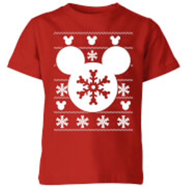 Disney Snowflake Silhouette Kids' Christmas T-Shirt - Red - 7-8 ans - Rouge