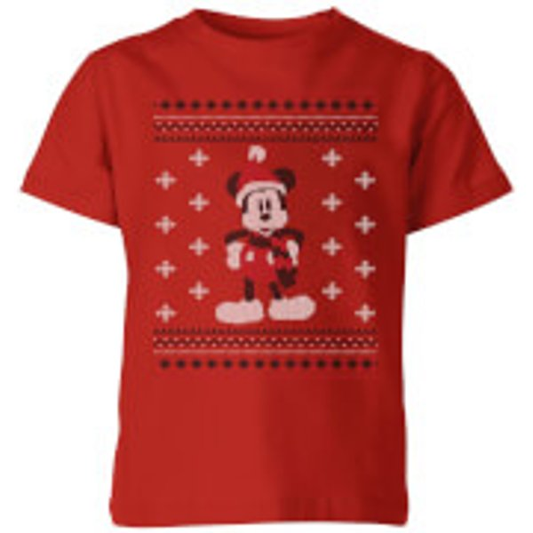 Disney Mickey Scarf Kids' Christmas T-Shirt - Red - 5-6 ans - Rouge