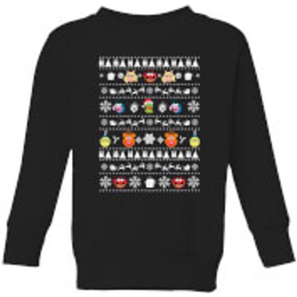 Muppets Pattern Kids' Christmas Sweatshirt - Black - 11-12 ans - Noir