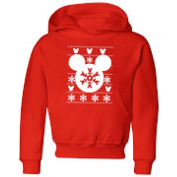Disney Snowflake Silhouette Kids' Christmas Hoodie - Red - 7-8 ans - Rouge