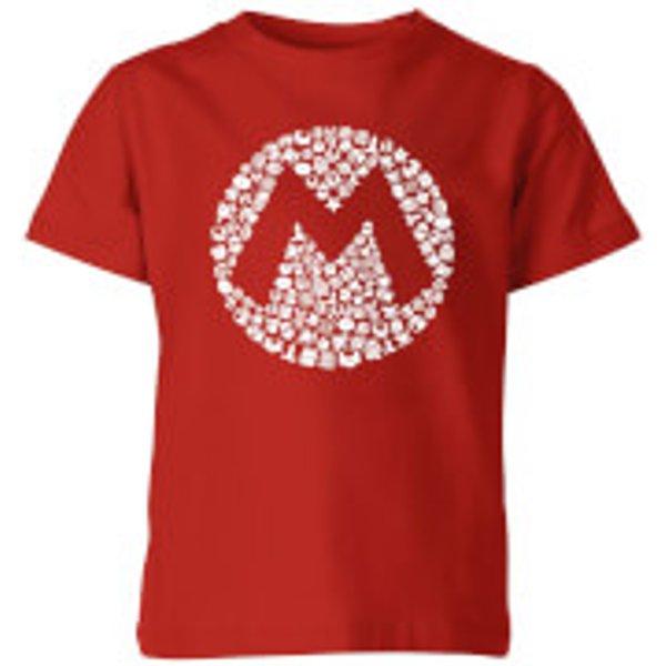 Nintendo Super Mario Mario Items Logo Kid's T-Shirt - Red - 9-10 ans - Rouge