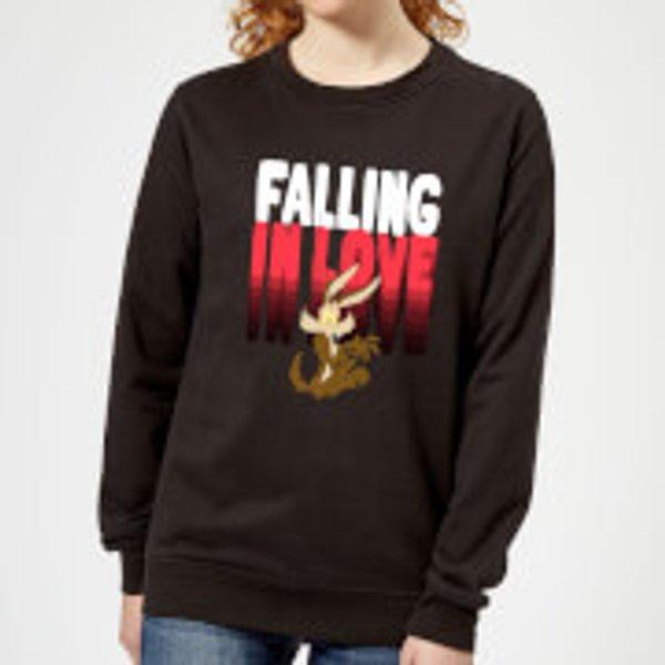 Looney Tunes Falling In Love Wile E. Coyote Women's Sweatshirt - Black - XL - Schwarz
