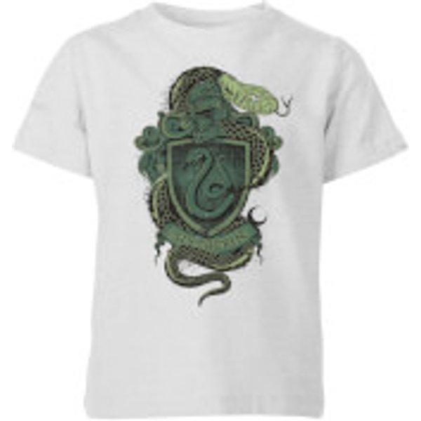 Harry Potter Slytherin Drawn Crest Kids' T-Shirt - Grey - 11-12 ans - Gris