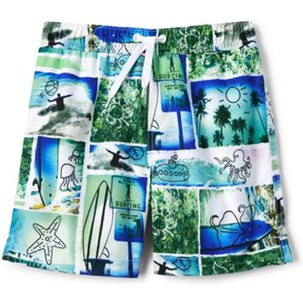 Lands' End - Boys' Volley Printed Swim Shorts - 1