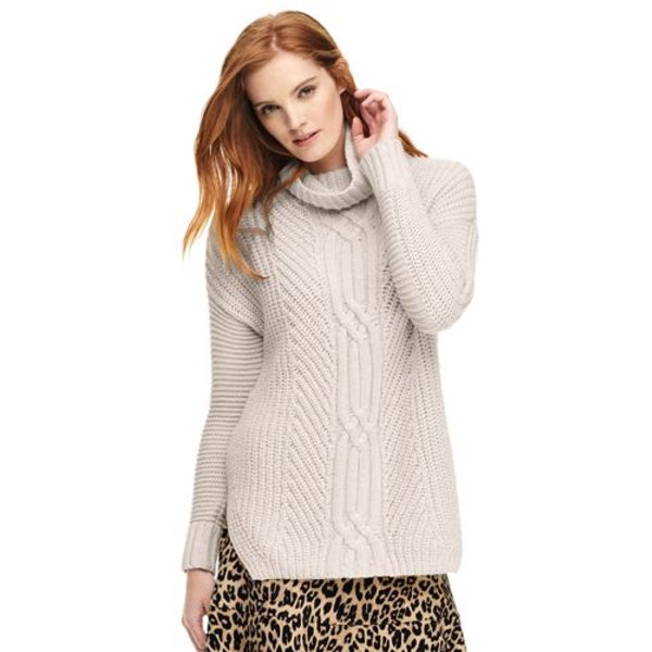 Lands' End - Eco-friendly Cable Shaker Roll Neck - 1