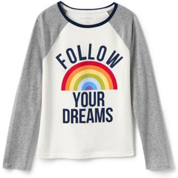 Lands' End - Girls' Glitter Heart Raglan T-shirt - 1