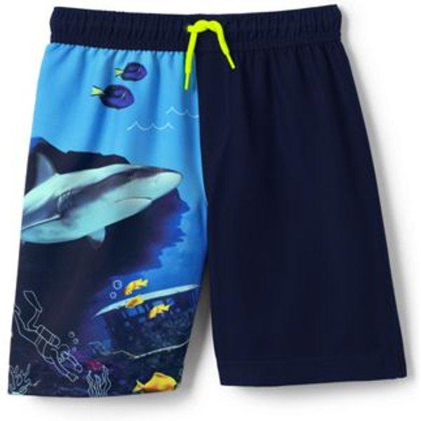 Lands' End - Boys' Shark Print Swim Shorts - 1