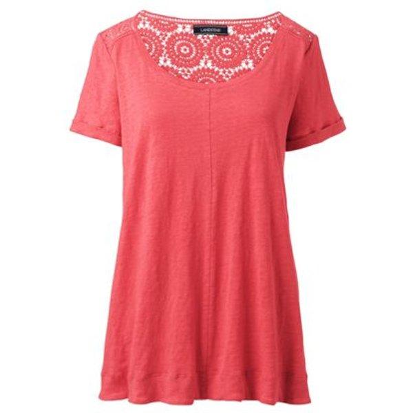 Lands' End - Crochet Trim Linen T-shirt - 1