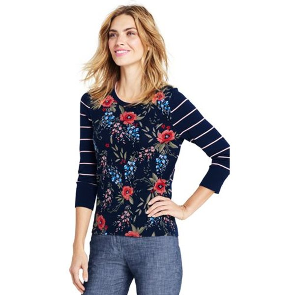 Lands' End - Supima Stripe/Floral Crew Neck Jumper - 1