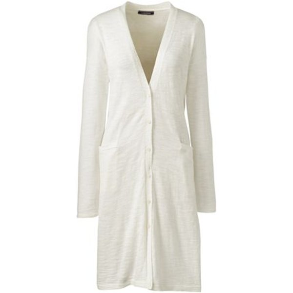 Lands' End - Cotton Blend Slub Long Cardigan - 1