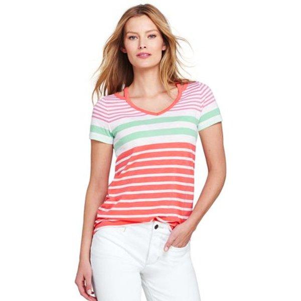 Lands' End - Plus Striped Cut Out T-shirt - 1
