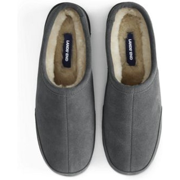 Lands' End - Suede Slippers with Shearling Lining - 1