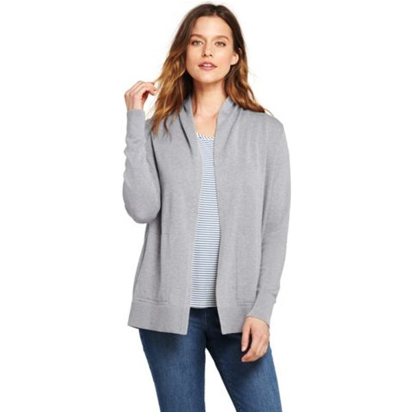 Lands' End - Petite Open Cotton Cardigan - 1