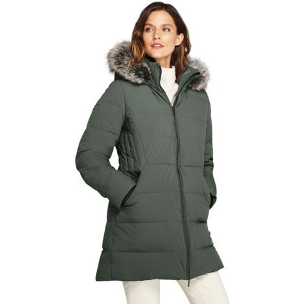 Lands' End - Plus Faux Fur Hooded And Lined Down Coat with Stretch - 1