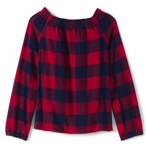 Lands' End - Girls' Gathered Neck Flannel Top - 1