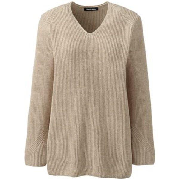 Lands' End - Petite Linen/Cotton Shaker Stitch Jumper - 1