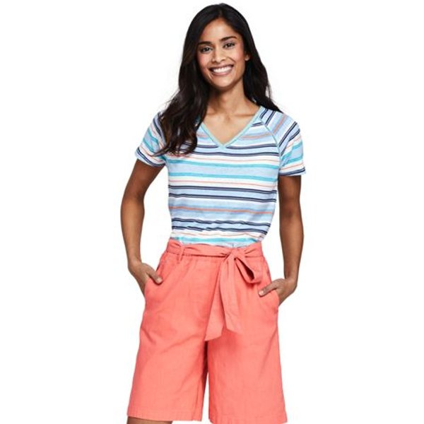Lands' End - Stripe Linen/Cotton T-shirt with Ladder Trim - 1