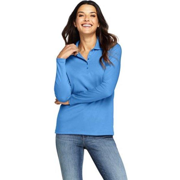 Lands' End - Petite Long Sleeve Supima Cotton Polo Shirt - 1