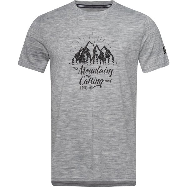 Super.Natural Herren Graphic Mountain T-Shirt (Größe S, Grau) | T-Shirts Merino > Herren