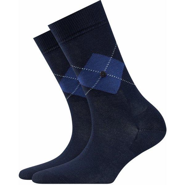 Burlington Black Argyle Socks, Women, 36-41, Blue, Argyle, Cotton