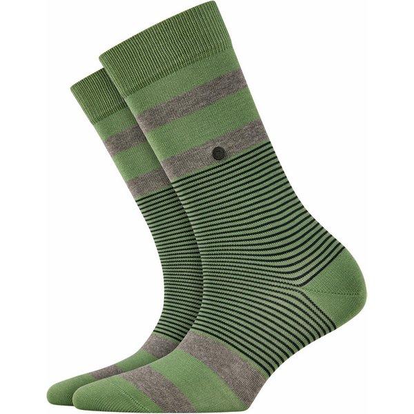 Burlington Black Stripe Socks, Women, 36-41, Green, Stripes, Cotton