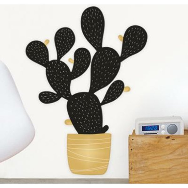 Sticker mural Cactus black and gold XL