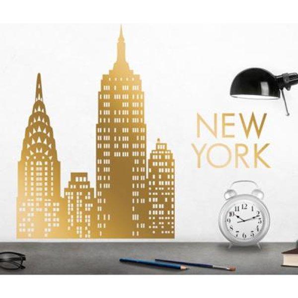 Stickers muraux NYC gold skyline XL