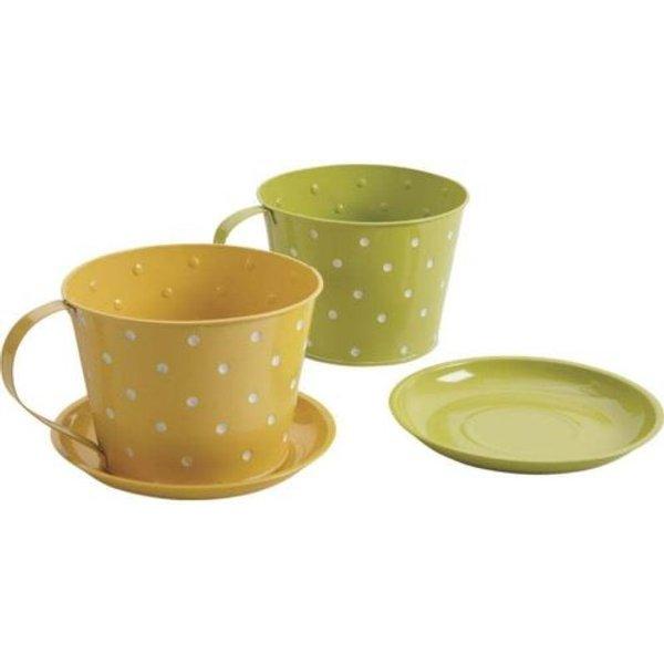 Lot de 2 Caches pot tasse en zinc avec coupelle aimentée