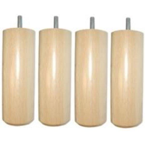 Jeu de 4 pieds cylindriques bois vernis-20 cm - 20 cm